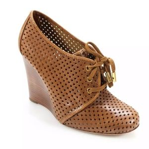 Tory Burch Brown Perforated Leather Victor Wedges